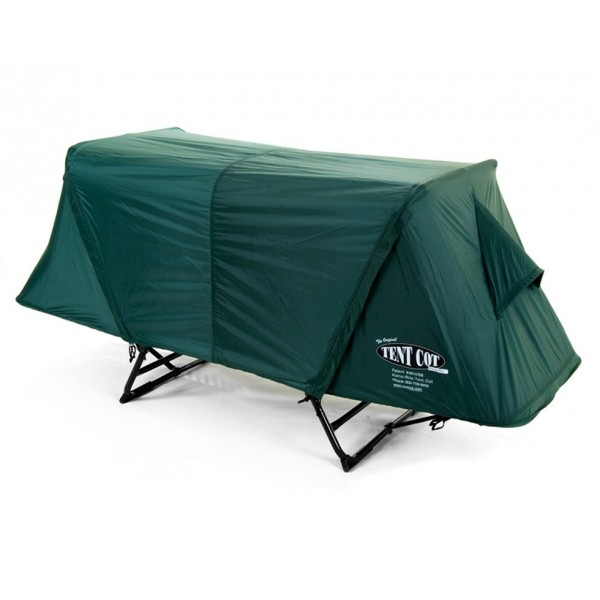 Off-the-ground original simple tent cot, with complete rainfly