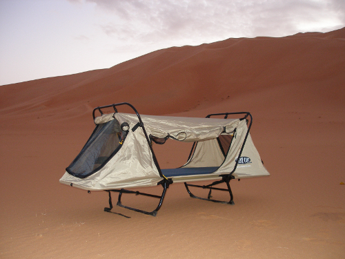 Off-the-ground original tent in the desert
